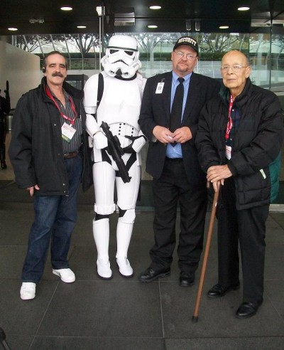 WonderCon 2010 - Robert K. Weeks with Storm Trooper, convention official and Kenn R Weeks