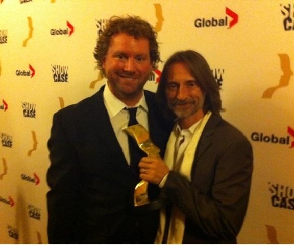 Patrick Gimore with Robert Carlyle Gemini Winner