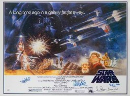 Star-Wars-IV 1 sheet-poster signed by 6 cast members