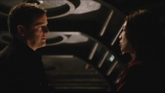 2010 Stargate Universe S1x11 Space - Colonel Young with Camile Wray