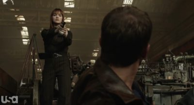 Treadstone S1x07 Young Petra holds Benley at gunpoint