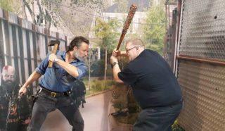 William Schlichter spars using anti-zombie weaponry