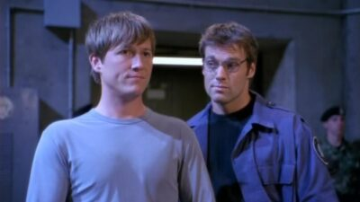 Corin Newec with Michael Shanks on Stargate SG-1