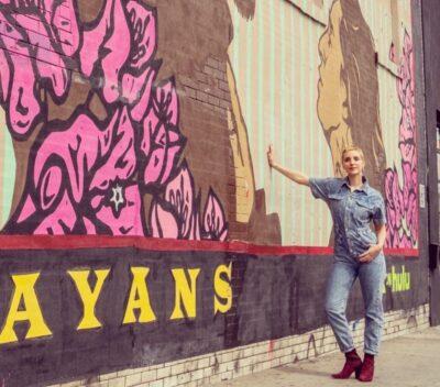 Carla Barrata at the Mayans MC Los Angeles Mural Project
