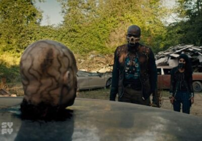 Van Helsing S5x07 Lukas and Shivani get their orders from Bathory The Oracle in the disembodied head