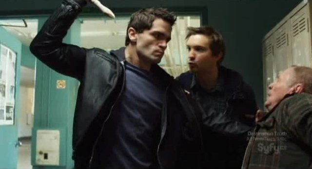 Being Human S1x12 -Aidan about to stake the janitor
