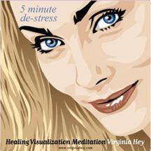 Cover 5 Minute De-Stress Mediation, copyright WhiteFlowerLei.com and Virginia Hey