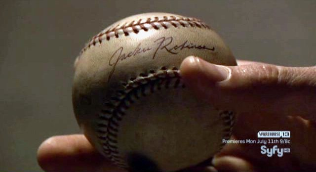 Eureka S4x09 - Wormhole Jackie Robinson baseball from the past
