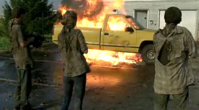 Truck blown up to divert