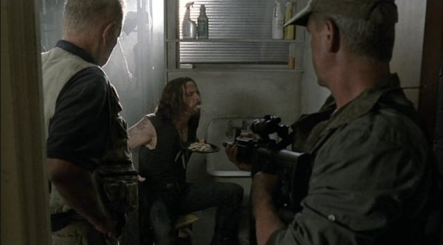 Falling Skies S1x03 - John Pope spits up the chicken and rice