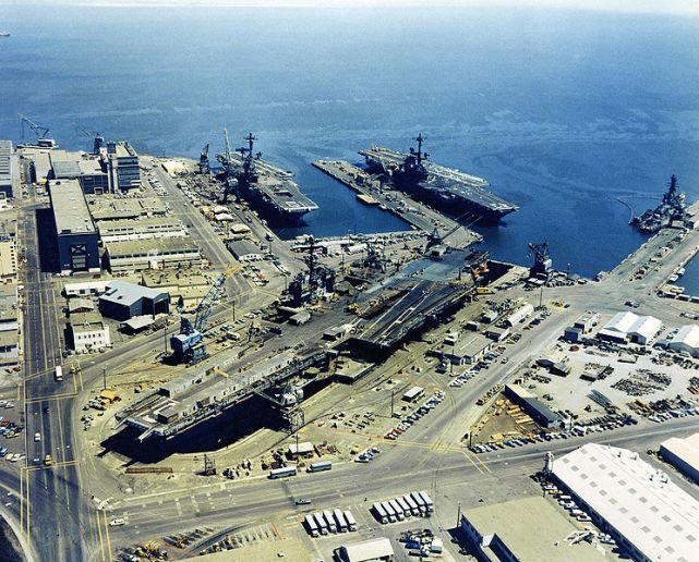 Hunters Point Naval Shipyard with three aircraft carriers circa 1971