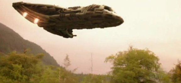 SGU S1x13 Faith - Shuttle zooming in for touch down