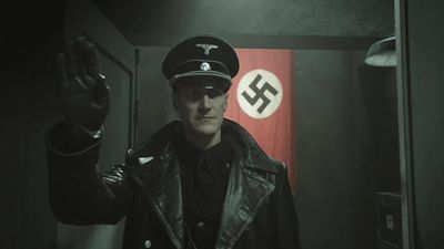 Sanctuary S3x17 Druitt arriving at Carentan bunker to interrogate Watson