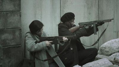 Sanctuary S3x17 Magnus and Anaise firing at Nazi troops