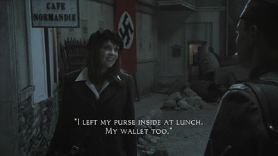 Sanctuary S3x17 Magnus trying to talk Nazi guard into opening Cafe Normandie bunker entrance