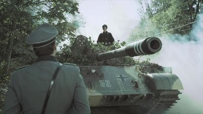 Sanctuary S3x17 Watson in tank at Normandy checkpoint