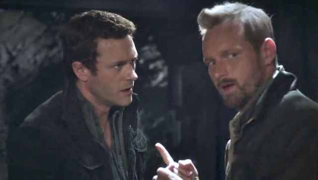 """Terra Nova S01x03 """"What Remains"""" Jim and Malcolm at outpost"""