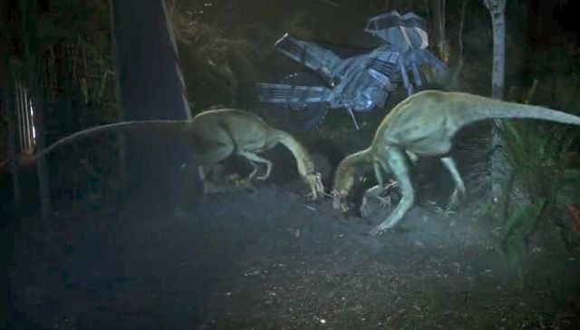"""Terra Nova S01x03 """"What Remains"""" Oversaurs at cable"""