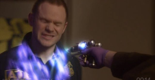 Warehouse 13 S3x01 Steve Jinks is  blasted by Tesla