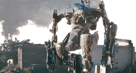 The exo-suit in the final film stage, CGI, designed by Greg Broadmore